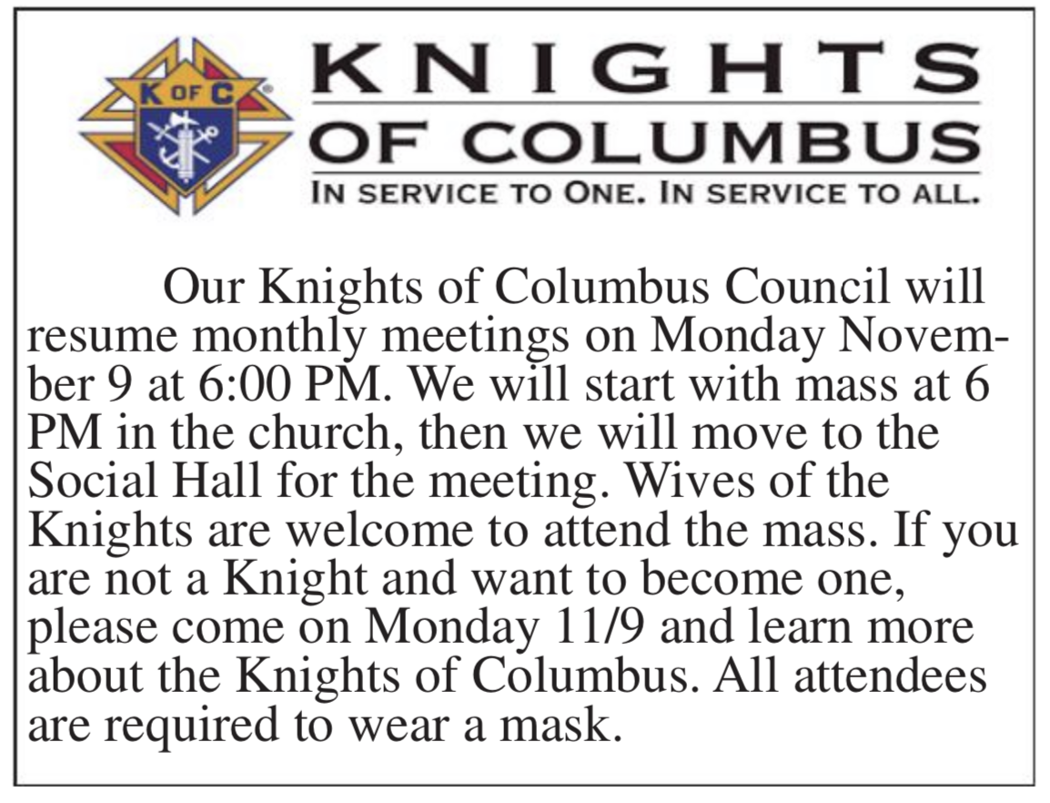 Knights of Columbus to resume meetings